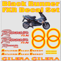 Gilera Runner FXR Stickers Decals, yellow & red for Black bike, Set, Kit, Rep, 50 70 125 172 180